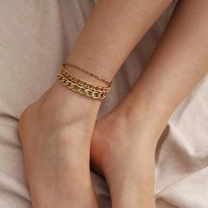 Couture Bling Gold Multi Chain Link Anklet